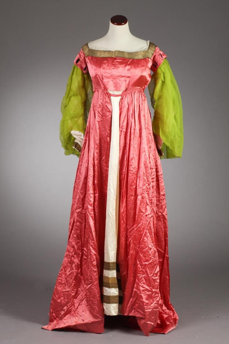 VINTAGE SALMON PINK AND CREAM FANCY DRESS COSTUME, Circa 1900; Marie A. Walsh, 3131 Wabash Ave., Chicago, Ill. label.
