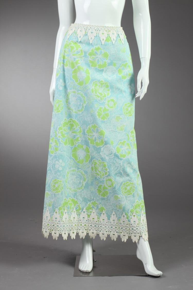 VINTAGE LILLY PULITZER MAXI SKIRT, 1960s, without label; size 8.