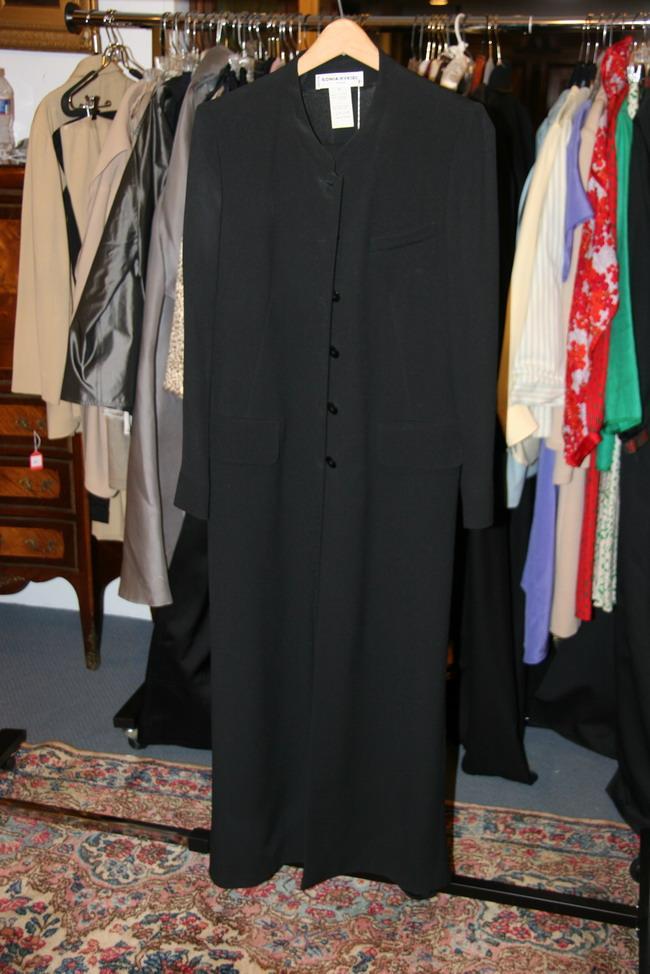 SONIA RYKIEL BLACK PANTSUIT, 1980s; size 42.
