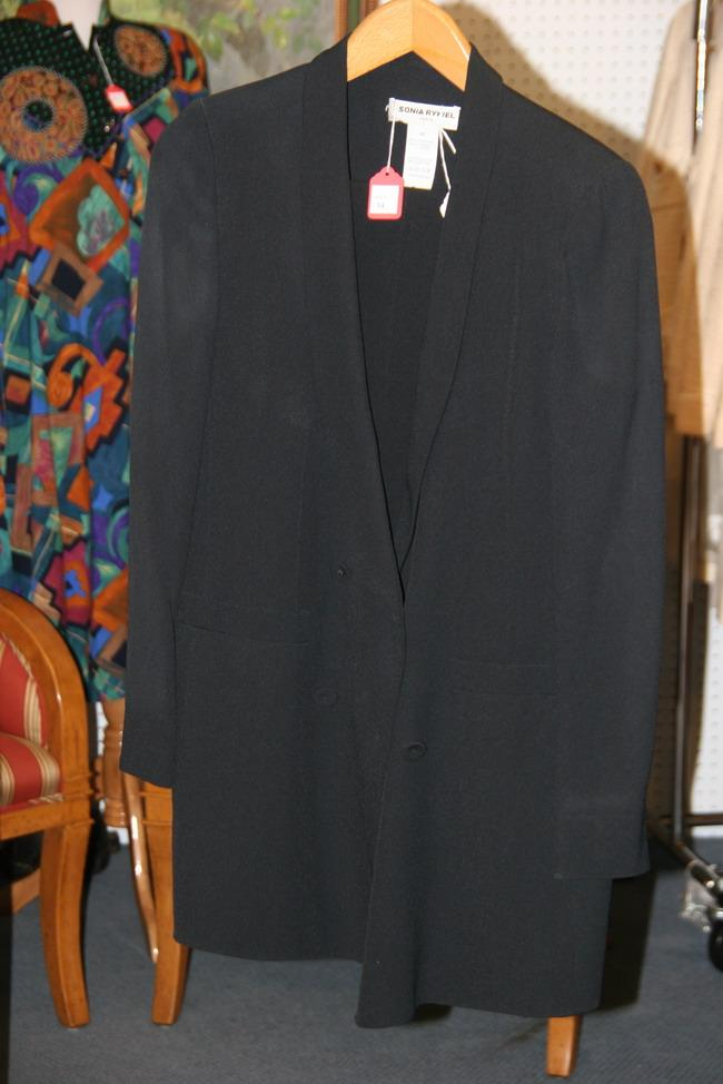 SONIA RYKIEL BLACK TUXEDO JACKET AND BLACK SKIRT WITH SATIN PIPING ALOND SIDES, 1980s; size 44.