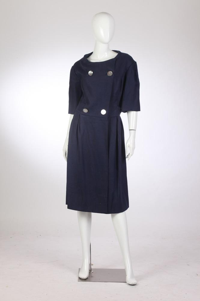 VINTAGE RAIMONDI NAVY BLUE LINEN DRESS, 1960s; Via XXIV Maggio, Roma.