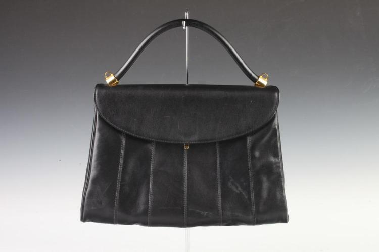 FRENCH BLACK LEATHER HANDBAG, Retailed Lord & Taylor. - 9 in. x 13 1/4 in.