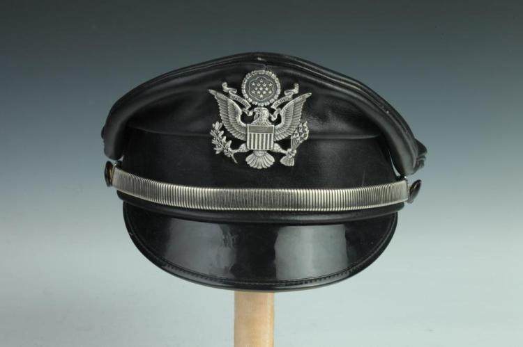VINTAGE MUIR BLACK LEATHER POLICE HAT, Union made, Ontario, Canada.