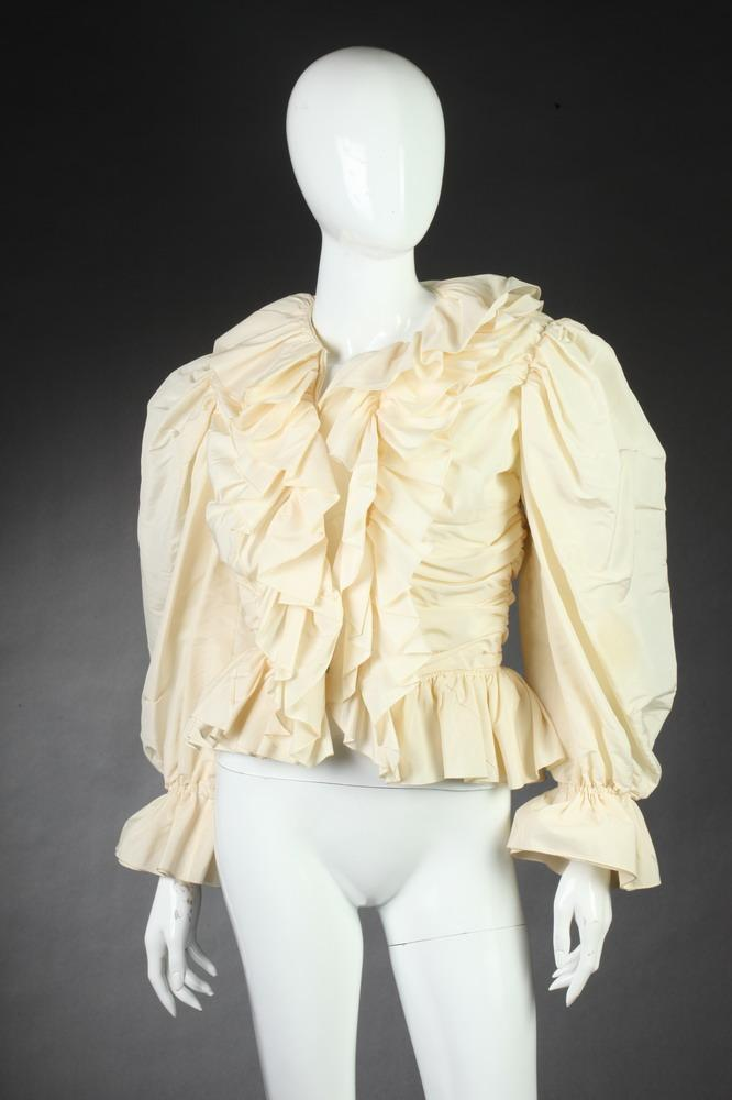 BILL BLASS CREAM TAFFETA EVENING BLOUSE, Size 8.