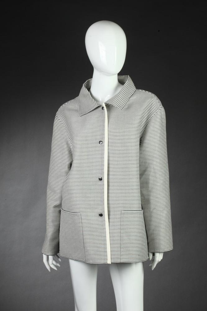 IVOIRE DE BALMAIN BLACK AND WHITE STRIPED JACKET, Size 40; wool/cotton blend.