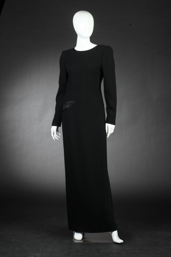 MARTHA BLACK CREPE EVENING DRESS WITH BLACK SEQUIN DETAIL ON RIGHT HIP, size meidum.