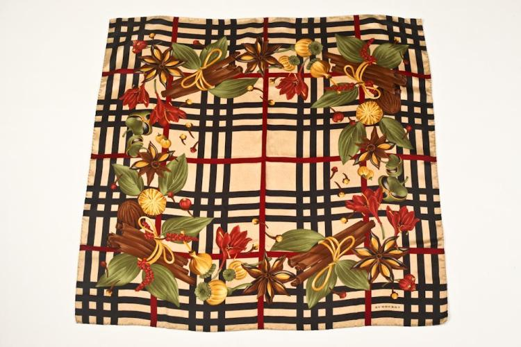 BURBERRY SILK SCARF. - 34 in. x 35 in.