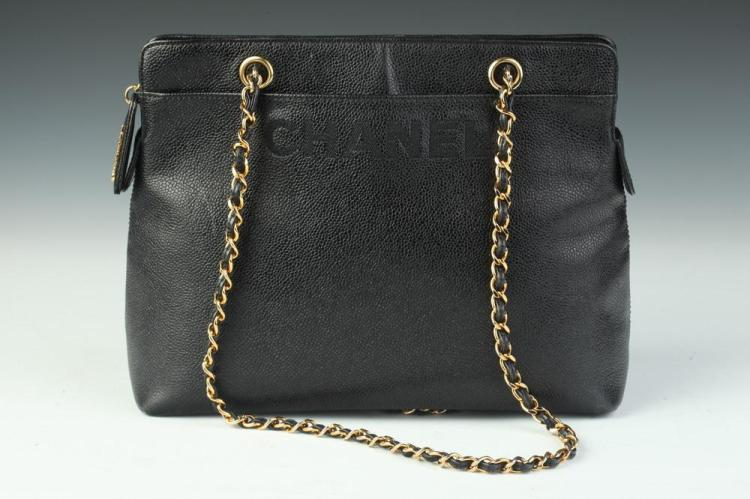CHANEL BLACK LEATHER HANDBAG, No. 4943101; made in Italy. - 9 in. x 11 1/2 in. x 4 1/2 in.