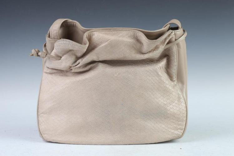 HALSTON TAUPE LEATHER HANDBAG. - 9 1/4 in. x 10 3/4 in. x 3 in.
