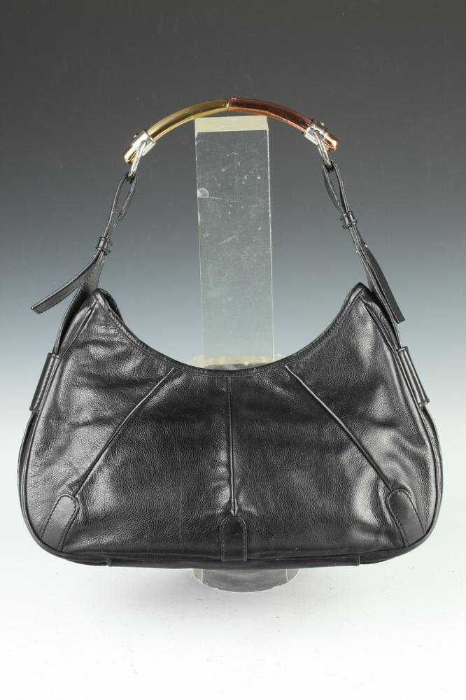 YVES SAINT LAURENT BLACK LEATHER HANDBAG. - 9 1/4 in. x 14 1/4 in. x 3 1/2 in.