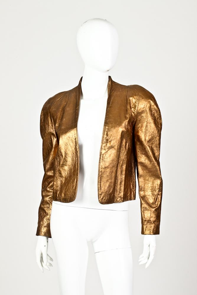 VAKKO NEW YORK GOLDEN BRONZE LEATHER JACKET, 1980s; size 3/4.