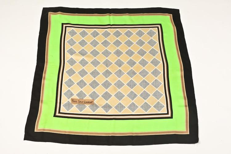 YVES SAINT LAURENT SILK SCARF. - 33 in. x 34 in.