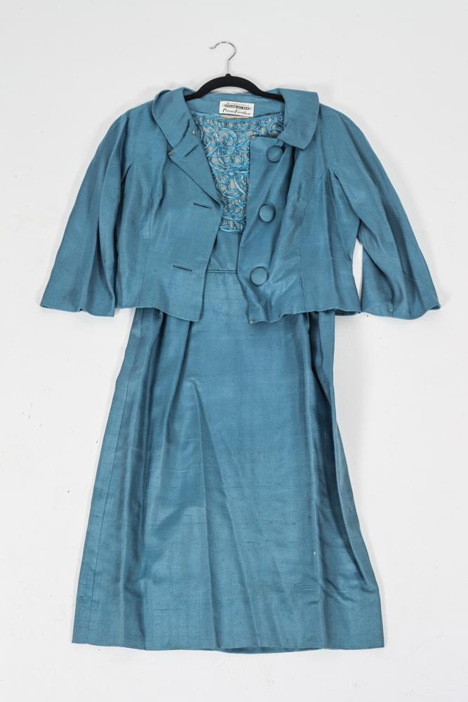 VINTAGE PARUES FEINSTEIN ITALIAN BLUE SILK ENSEMBLE, Circa 1960s; loomed in Venice, retailed Gretchen Cole, Bethesda, Md.