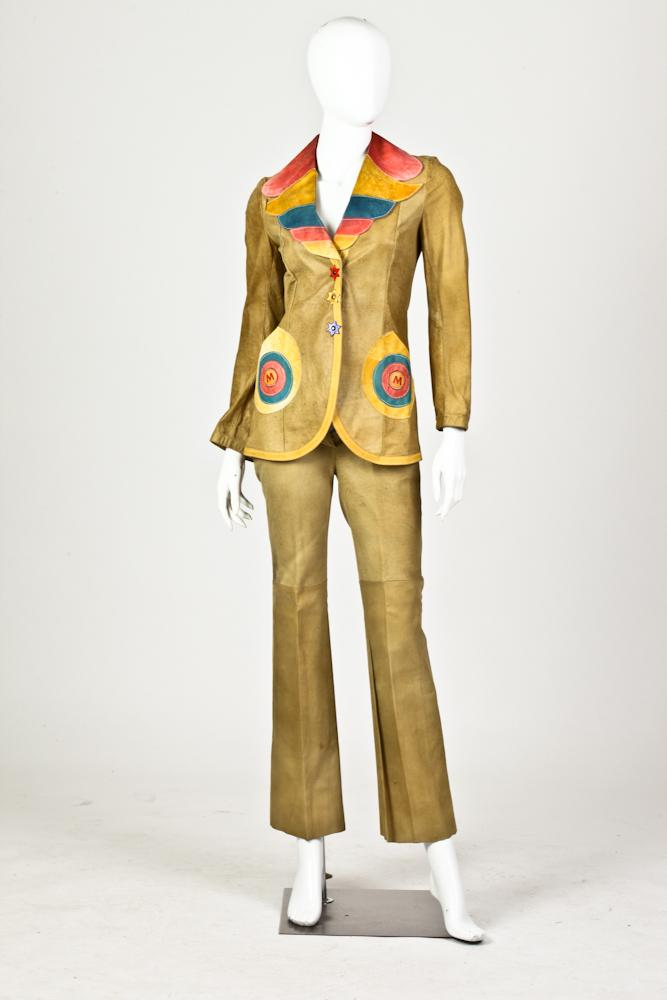 MIURA POLYCHROME LEATHER PATCHWORK PANTSUIT, size small, made in England.