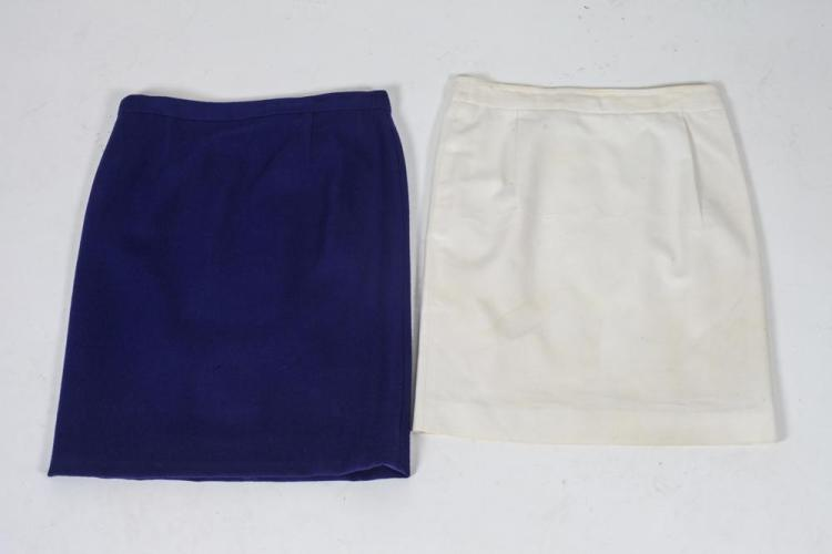COURRÈGES SKIRTS; COBALT WOOL; WHITE, size small.