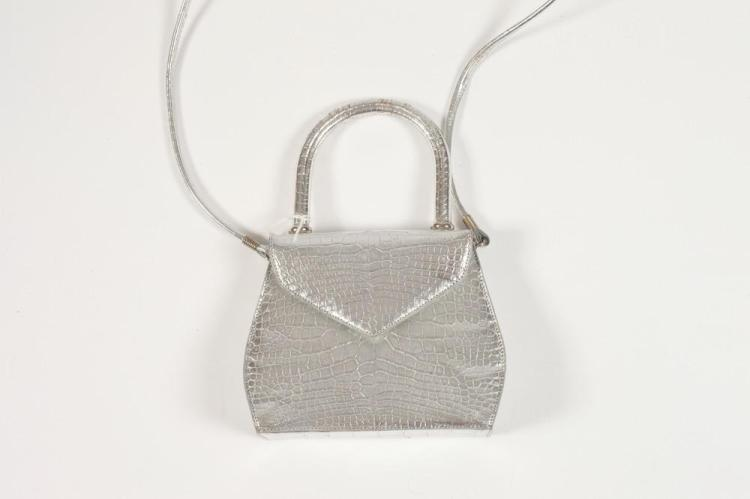 CROCODILE EMBOSSED SILVER EVENING SHOULDER PURSE, 1980's.