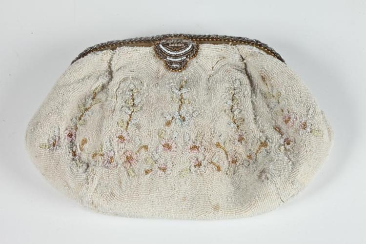 VINTAGE EVENING BAG WITH WHITE, PALE BLUE, PINK BEADS AND BEADED CLASP.