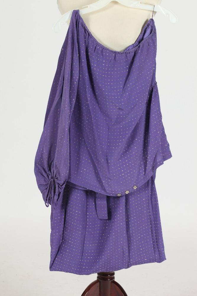 CHRISTIAN DIOR PURPLE AND GILT-THREAD SKIRT AND BLOUSE. size small.