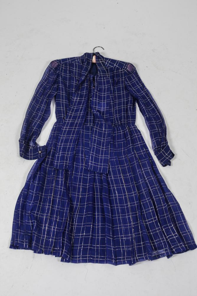 CHRISTIAN DIOR READY TO WEAR COBALT AND GILT THREAD DRESS. size small.