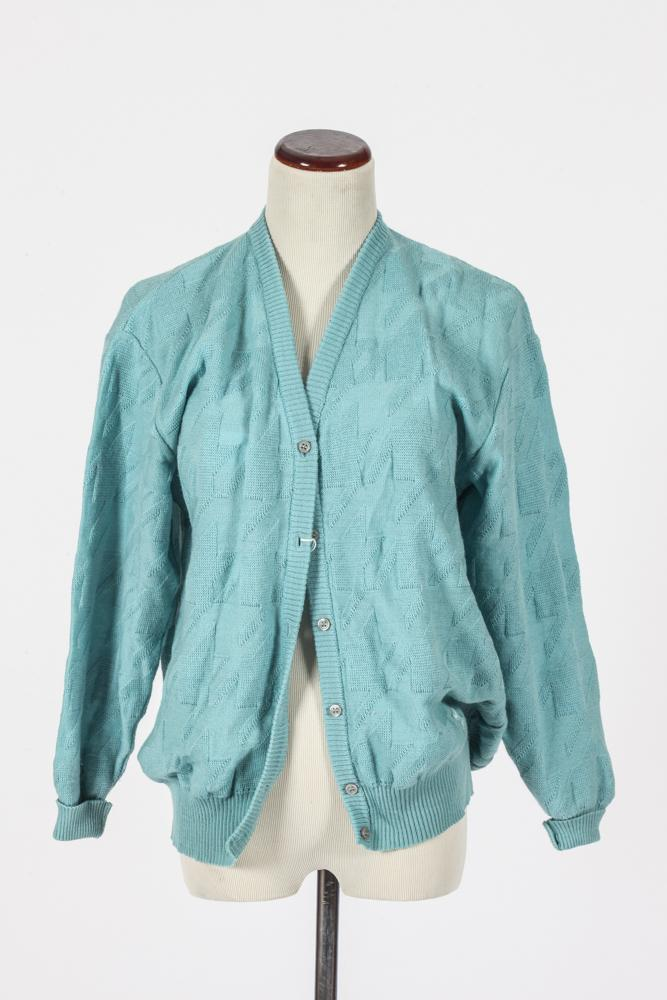 COURRÈGES TURQUOISE CARDIGAN. size small.