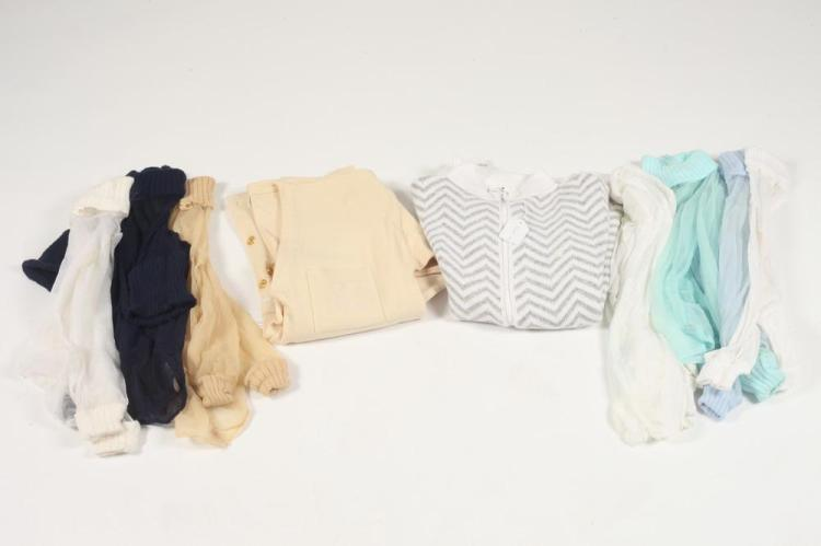 SEVEN COURRÈGES SHEER MOCK TURTLENECKS - THREE WHITE, BABY BLUE, BLACK, CAMEL, TURQUOISE. size small.