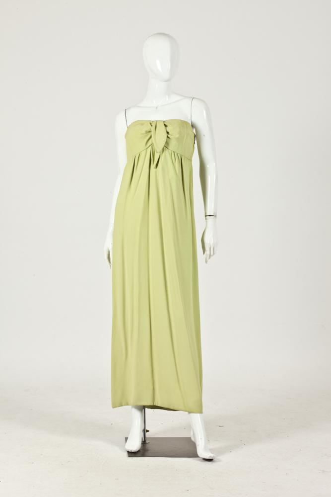 VINTAGE ERLEBACHER LIME GREEN SILK FLOOR-LENGTH STRAPLESS GOWN. SMALL AREAS OF DISCOLORATION ON TOP.
