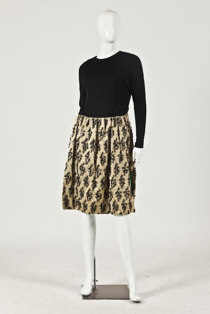VINTAGE DRESS WITH GOLD SILK SKIRT DECORATED WITH BLACK AND GOLD BEADS, LINED WITH GREEN SILK. BLACK LONG -SLEEVED TOP WITH BUILT-IN BL