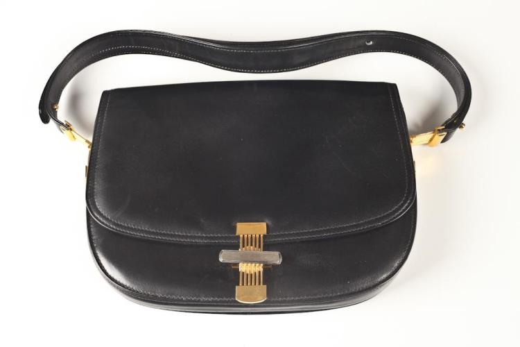 BLACK LEATHER PURSE WITH GOLD-TONE CLASP, Interior zipper has the mark