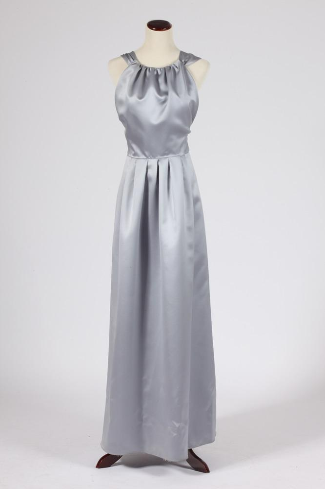 VERA WANG OYESTER-GREY SILK BRIDESMAID GOWN, Size 14.