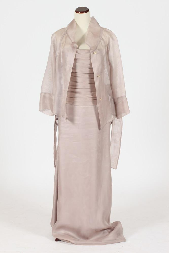 ARMANI CHAMPAGNE ORGANZA SILK FLOOR-LENGTH STRAPLESS GOWN WITH MATCHING JACKET, Size 10.