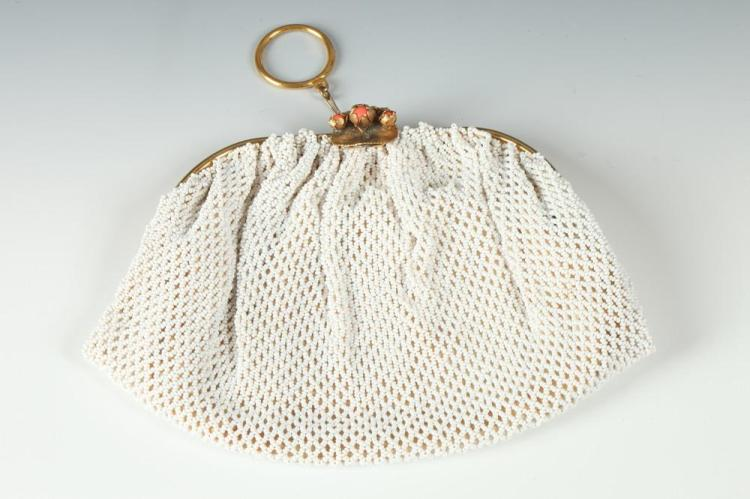 TWO VINTAGE BAGS. - silver mesh bag, white bag is 5 inches x 7 inches.