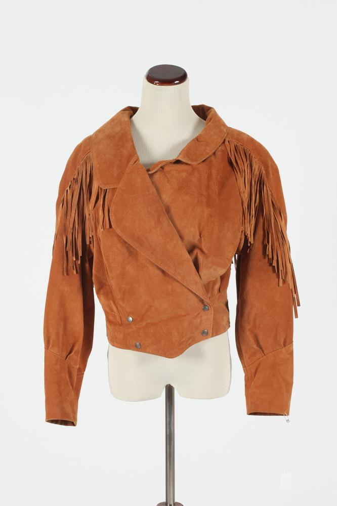 VINTAGE GOLDEN BROWN SHORT SUEDE JACKET WITH FRINGE, Size small. Size small.