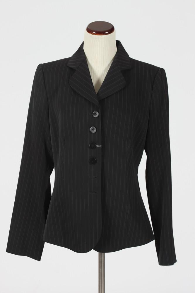 ARMANI BLACK JACKET WITH WHITE PINSTRIPES. Size medium.