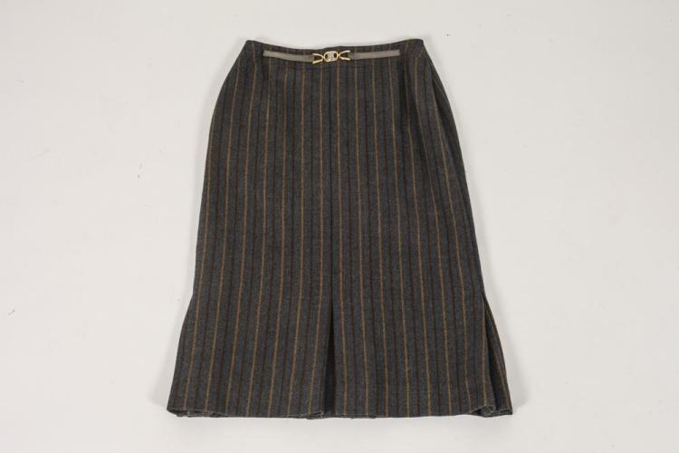 CELINE BROADSTRIPE WOOL SKIRT, Size 40.