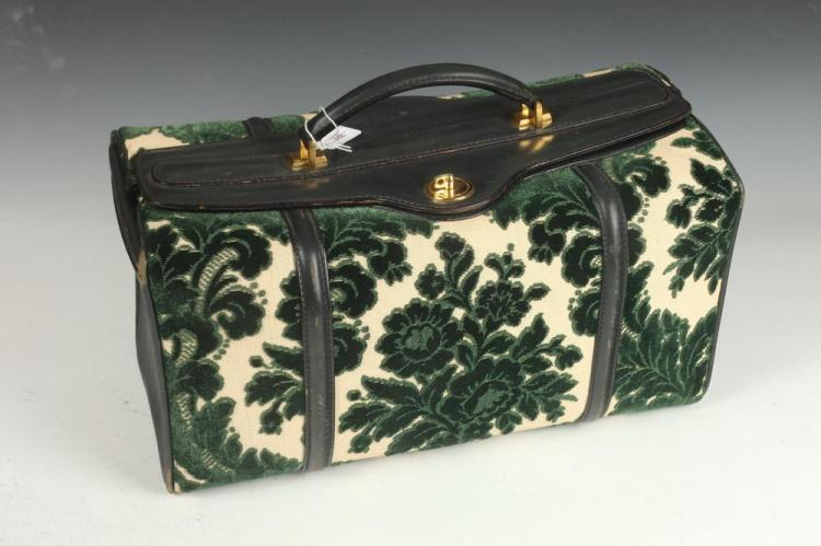 LEFCORT BEIGE CANVAS SATCHEL WITH HUNTER GREEN VELVET FLORAL MOTIF AND LEATHER HANDLE WITH GOLD-TONE DETAIL, Made in Italy.
