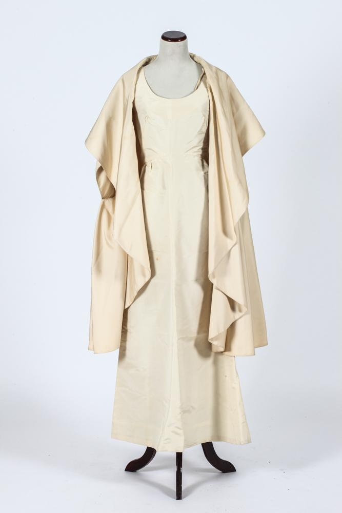 VINTAGE PAULINE TRIGERE CREAM SILK DRESS AND CAPE. - Trigrere waistline 14 inches across, Bianchi 12 inches.