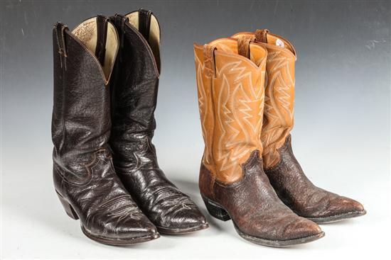 TWO PAIR OF MEN'S COWBOY BOOTS DARK BROWN; LIGHT BROWN WITH DARK BROWN. size 9 1/2.