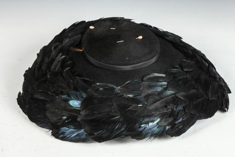 VINTAGE BLACK CASHMERE HAT WITH FEATHERS.