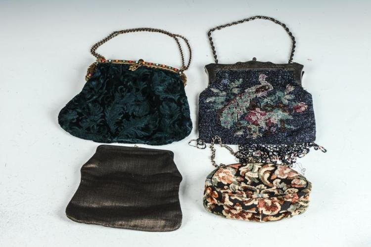VINTAGE BAGS: GREEN VELVET, BEADED PEACOCK, BRONE POUCH, FLORAL POUCH,