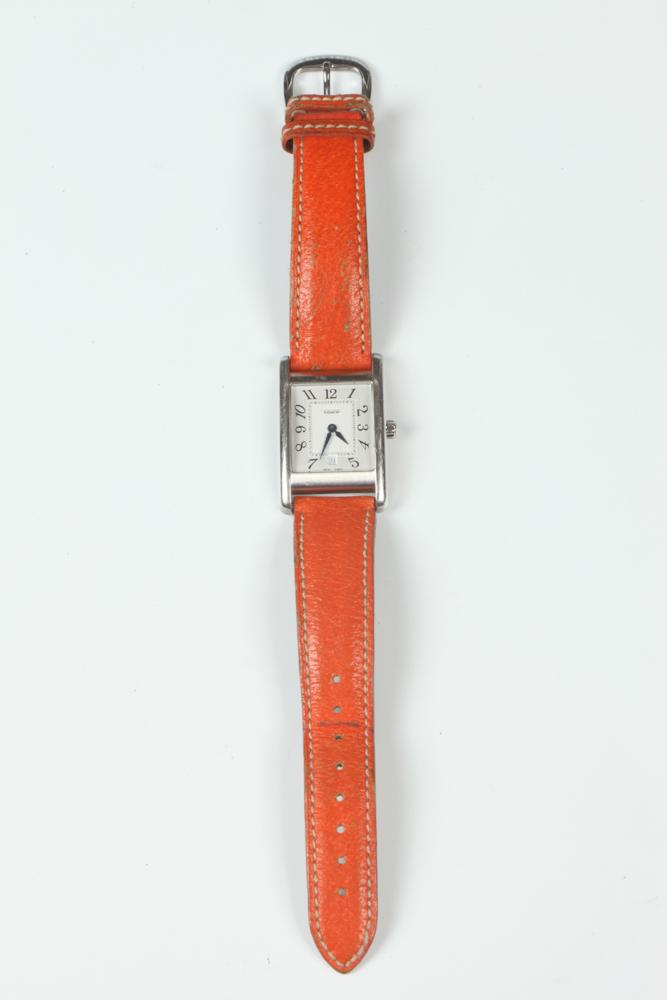 COACH ORANGE LEATHER WRISTWATCH WITH BOX.