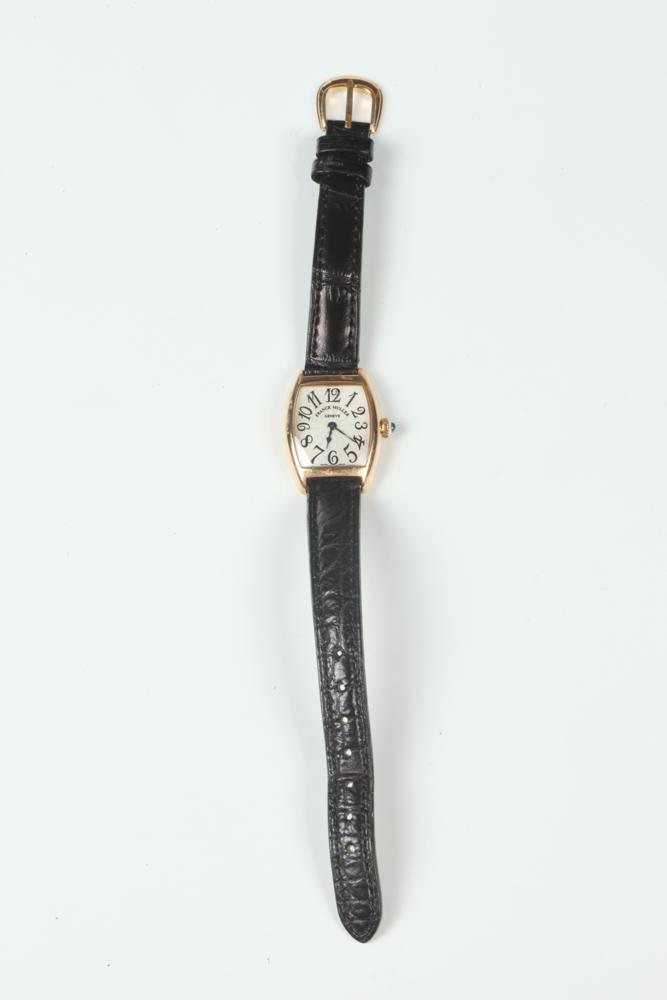 FRANK MULLER ROSE GOLD BARREL SHAPE WRISTWATCH WITH BLACK LEATHER STRAP, ORIGINAL BOX INCLUDED, Made in Geneva.