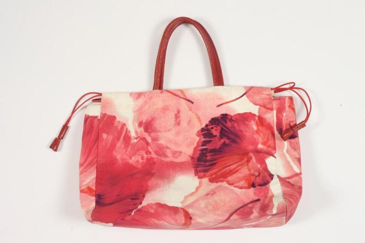 FURLA PRINTED CANVAS TOTE WITH RED LEATHER HANDLES.