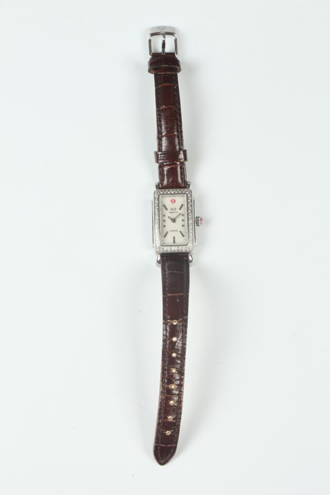 MICHELLE BROWN LEATHER-STRAP WRISTWATCH WITH BOX.
