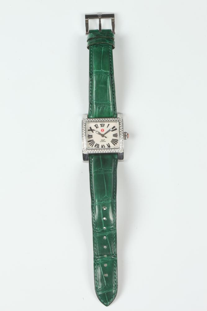 MICHELLE GREEN LEATHER-STRAP WRISTWATCH WITH BOX.