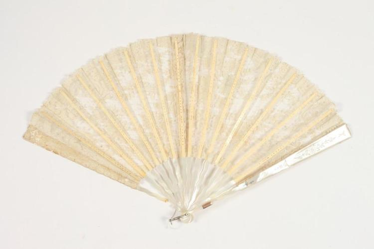 VINTAGE LACE FAN WITH MOTHER OF PEARL GUARDS AND STICKS,