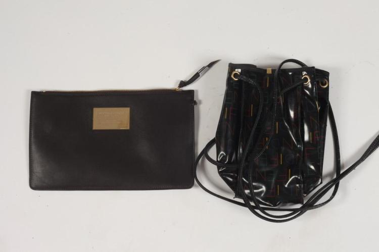 BOTTEGA VENETA CHOCOLATE BROWN CLUTCH AND FENDI BLACK PATENT LEATHER BAG. good condition,.