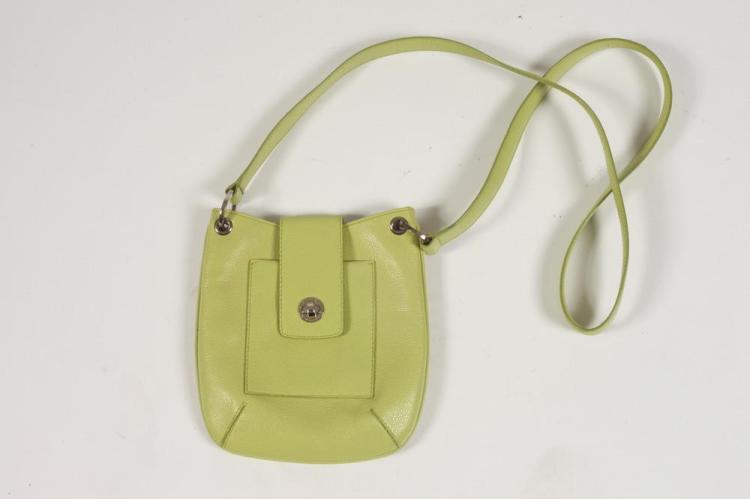 BULGARI LIME LEATHER PURSE.
