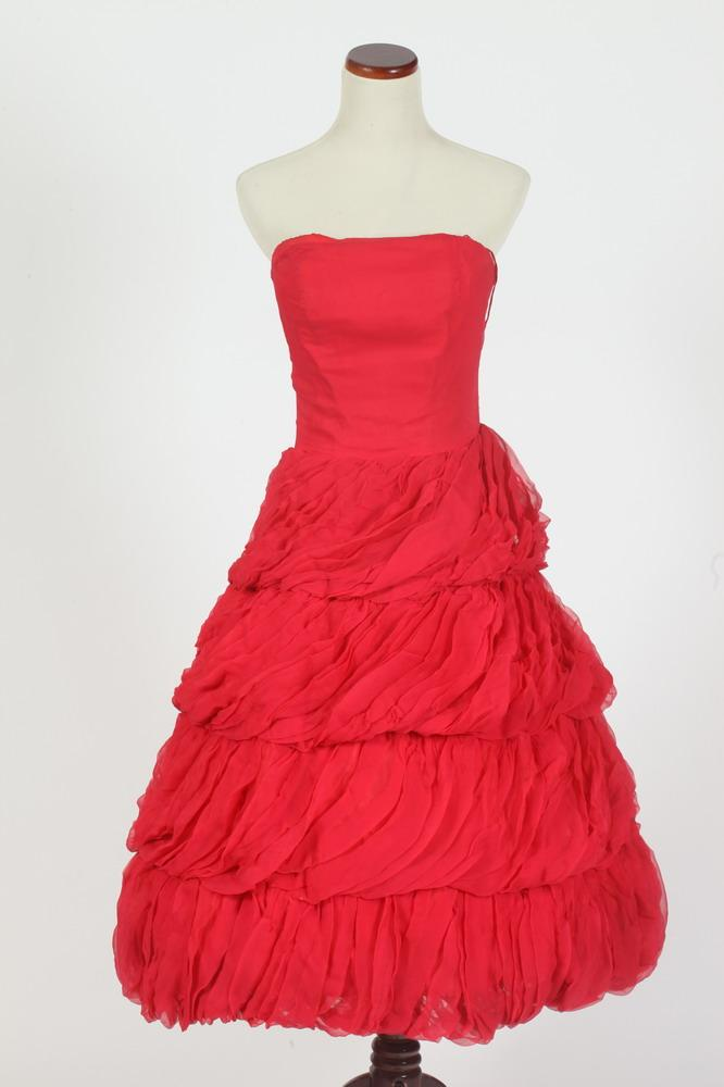 VINTAGE FRANK USHER STRAPLESS RASPBERRY CHIFFON COCKTAIL DRESS, small.