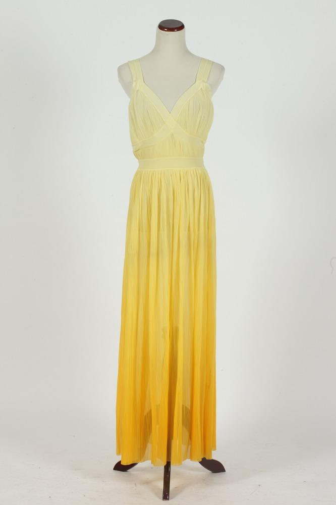 VINTAGE YELLOW SLEEVELESS DRESS WITH PLEATED SKIRT. size small.