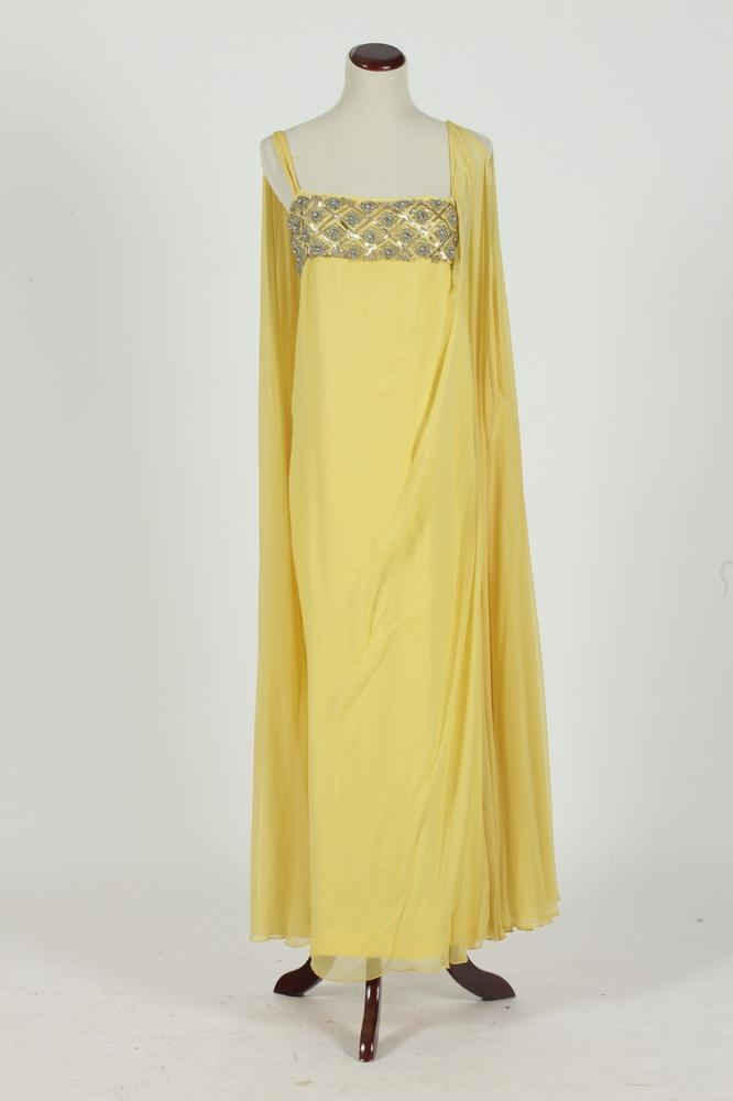 VINTAGE YELLOW CHIFFON SLEEVELESS GOWN WITH SEQUINS AND BEADS, size large.